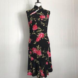 Guess High Neck Mini Dress Floral Ruffle Black Pnk